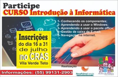 CRAS oferta curso de informática