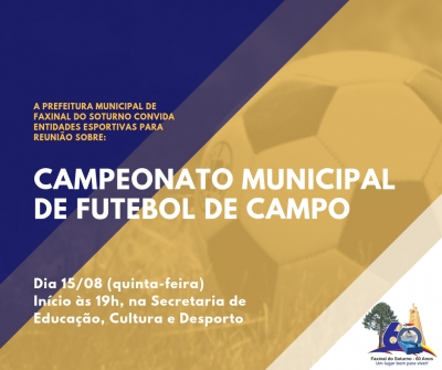 Reunião sobre o Campeonato Municipal de Futebol acontece quinta-feira (15)