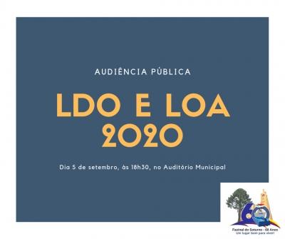 Audiência Pública sobre LDO e LOA 2020 acontece na próxima semana