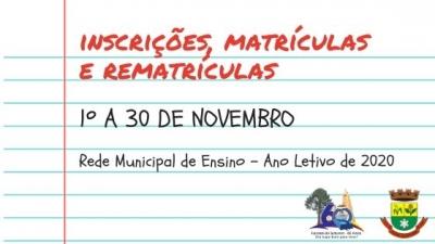 Inscrições, matrículas e rematrículas da rede municipal começam em 1º de novembro