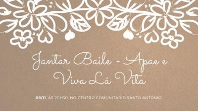 Jantar baile beneficente da Apae e Viva Lá Vita acontece neste sábado (9)