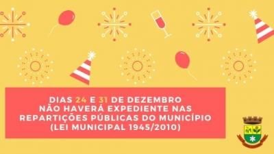 Prefeitura não terá expediente em 24 e 31 de dezembro
