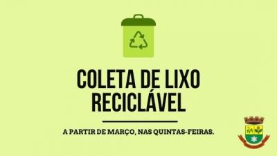 Coleta de lixo reciclável será nas quintas-feiras a partir de março