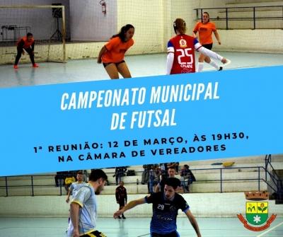 1ª Reunião do Municipal de Futsal será no dia 12 de março