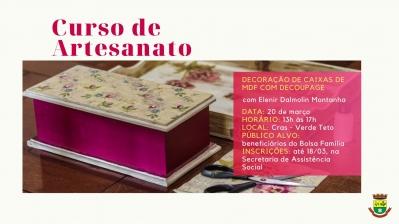 CRAS realiza curso de artesanato para beneficiários do Bolsa Família
