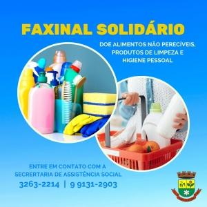 """Assistência Social realiza campanha """"Faxinal Solidário"""""""