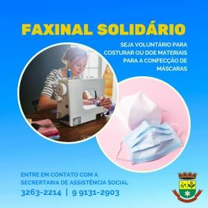 """Campanha """"Faxinal Solidário"""" é ampliada para produção de máscaras"""