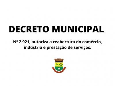 Decreto Municipal autoriza a reabertura do comércio, indústria e prestação de serviços