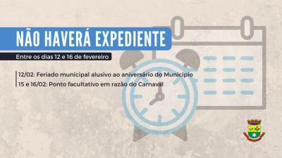 Prefeitura não terá expediente entre os dias 12 e 16 de fevereiro