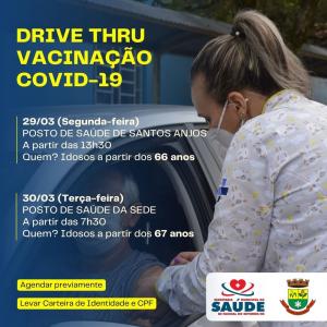 Saúde realiza novo drive-thru de vacinação nesta segunda e terça-feira