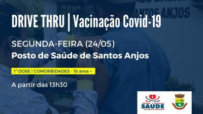 Segunda-feira (24) terá vacinação contra a Covid-19 em Santos Anjos
