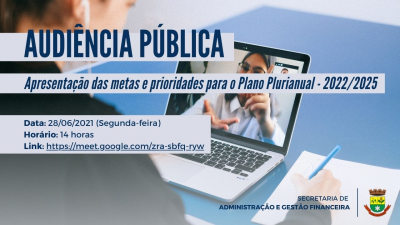 Audiência Pública sobre o Plano Plurianual acontece no dia 28 de junho