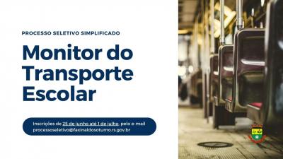 Prefeitura realiza processo seletivo para monitor do transporte escolar