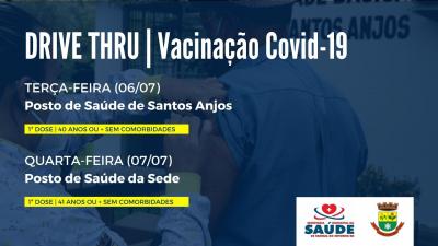 Saúde realizará dois drive-thrus de vacinação contra a Covid-19 esta semana