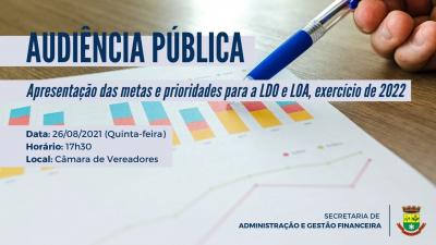 Audiência Pública sobre a LDO e LOA acontece nesta quinta-feira (26)
