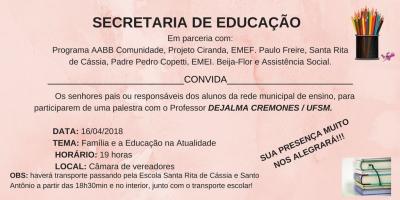 Secretaria de Educação promoverá palestra para os pais